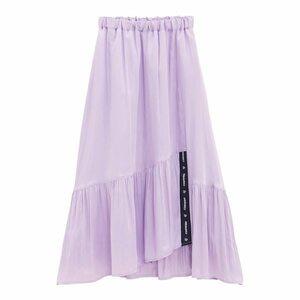 即決★新品★かわいい キラリ サテン アシンメトリーフレアスカート ロゴテープ ライトパープル 薄紫 オシャレ ロングスカート M L