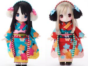 「碧色ねこ」「緋色うさぎ」2体セット chuchu doll HINA HJ限定 ドール