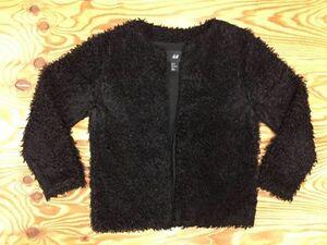 H&M モード パーティ ボタンレス ボアフリース ブルゾン カーディガン ジャケット ショート丈 レディース ポリエステル100% 36 黒