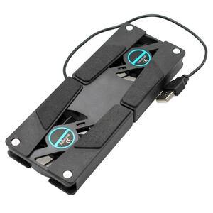 新到着ノートパソコンデスクサポートデュアル冷却ファンノートブックコンピュータスタンド折りたたみusbラックホルダー黒