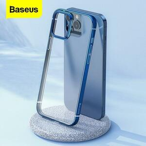 Baseusクリア電話ケースiphone 12プロマックス12Max透明メッキケースcoque薄型ソフトtpuバックカバーのためのiphone 12Pro最大