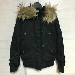 H&M ミリタリー フライト ジャケット N-2B タイプ 黒 size2 美品 管理C663