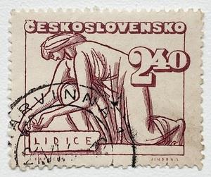 チェコスロバキア 切手 1947年発行 リディツェ村の虐殺5周年記念 郵便 郵趣 東欧 中欧 ヨーロッパ 欧州 Czech 共和国 ナチスドイツ