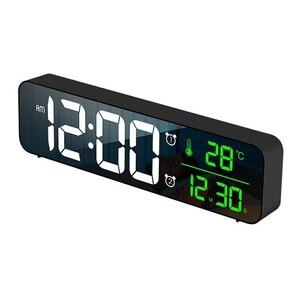 デジタル 時計 LED 目覚まし ミラー 多機能 温度 カレンダー 壁掛け 卓上 アラーム スヌーズ USB ブラック 1