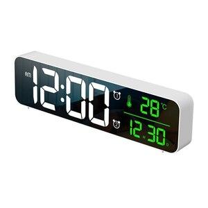 デジタル 時計 LED 目覚まし ミラー 多機能 温度 カレンダー 壁掛け 卓上 アラーム スヌーズ USB ホワイト 1