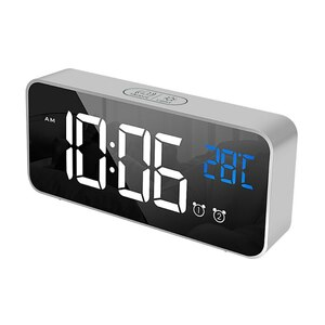 デジタル 時計 LED 目覚まし ミラー 多機能 温度 カレンダー 壁掛け 卓上 アラーム スヌーズ USB グレー