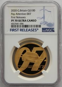 2020年 イギリス 007 ジェームズ ボンド 100ポンド 金貨 NGC PF70UC First Releases!!