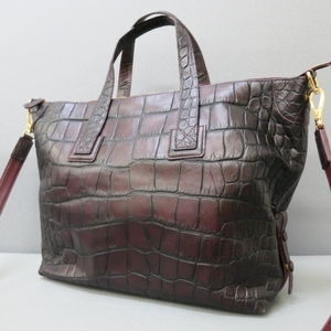 YSS983★LEATHER JEWELS/レザージュエルズ レザー2way型押しバッグ ボルドー系★A