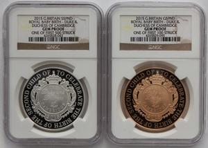 2015 イギリス ロイヤルベビー シャーロット生誕 5ポンド 金貨 銀貨 セット NGC GEM PROOF!