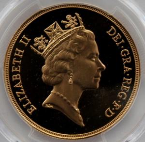 1990 イギリス エリザベス2世 5ポンド 金貨 PCGS PR69DCAM 準最高鑑定品!!