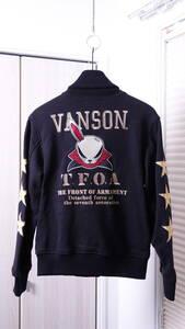 ★vansonバンソン×TFOA武装戦線 コラボデスラビットワッペン刺繍プリントジャケット  古着ユーズド男性メンズS黒ブラックスカルクローズ