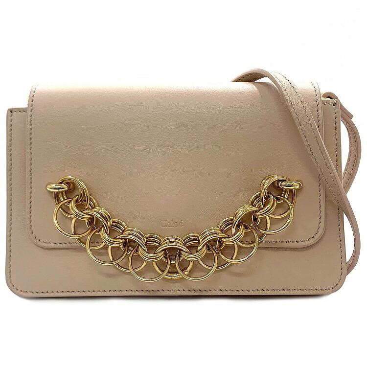 Chloe Shoulder Bag Pink Beige Pochette CHC18AS115H1Z6J5 Chain Ring Leather Used Chloe Ku & Chloe & Bag, Bag