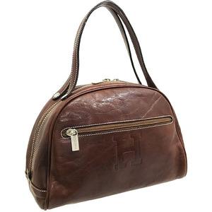 ヒロフ ハンドバッグ レザー 革 ブラウン 茶色 HIROFU Hロゴ トートバッグ 手提げ バッグ バック カバン 鞄 レディース 女性 (8625)