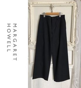 新品同様 マーガレットハウエル MARGARET HOWELL ウール ワイドパンツ Ⅱ 黒 ブラック