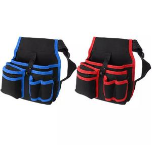 Z1928 1個 ウエストツールバッグ 工具袋 腰袋 選べるカラー!青/赤