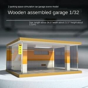 1:32車ガレージモデル木製組立シミュレーション駐車場空間モデルコレクション収納装飾駐車場