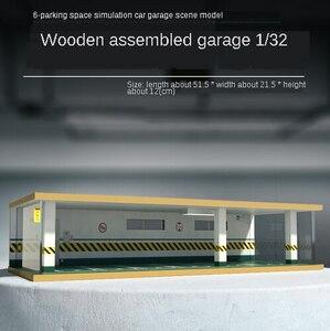 1:32車ガレージモデル木製組立シミュレーション駐車場空間モデルコレクション収納(6 parking)