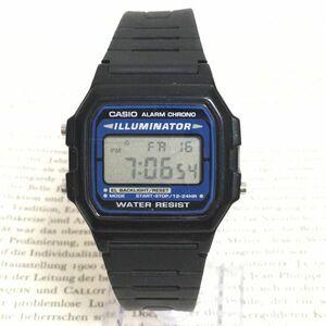 ★CASIO ILLUMINATOR 多機能 腕時計 ★カシオ イルミネーター F-105 アラーム クロノ ブラック 稼動品 F2565