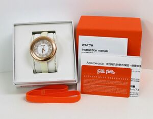 フォリフォリ 腕時計 WF0R029SS ラウンド 純正ベルト ホワイト 白 QZ 箱有 レディース腕時計 Folli Follie☆2978-1