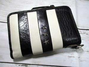 半額 財布 メンズ 長財布 二つ折り L字ラウンド 超高級イタリアンレザー BLACK&WHITE ストライプデザイン スタースタッズ入り