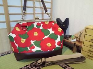 1円スタート 在庫処分 和 モダン 和柄 ツバキ 椿 赤 白 花柄 かわいい がま口 3way ショルダー バッグ ハンドメイド 手提げ 斜めかけ