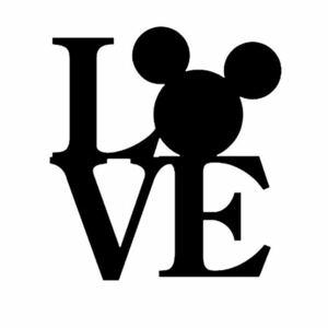 希少◆VIP ミッキーマウス Love 黒 ブラック1 カーステッカー ギャルソン 車 家具 防水 シール レイアウト ディズニー インテリア
