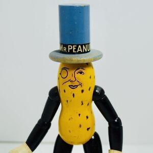 レア MR PEANUT ミスターピーナッツ プランターズ PLANTERS 木製 人形 フィギュア アドバタイジング キャラクター 企業物 ビンテージ 1930s
