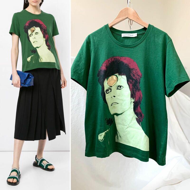新品レア Undercover アンダーカバー David Bowie デヴィッド ボウイ Tシャツ レディース Ziggy Stardust 完売 2019SS グリーン