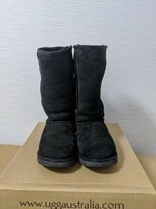 【送料無料】A190 UGG アグ サイズUS7 24㎝ CLASSIC TALL 黒 BLACK リアルムートン シープスキン ブーツ