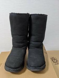【送料無料】A193 UGG アグ サイズUS6 23㎝ CLASSIC TALL 黒 BLACK リアルムートン シープスキン ブーツ