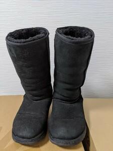 【送料無料】A197 UGG アグ サイズUS6 23㎝ CLASSIC TALL 黒 BLACK リアルムートン シープスキン ブーツ