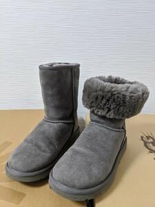 【送料無料】A198 UGG アグ サイズUS5 22㎝ CLASSIC SHORT グレー リアルムートン シープスキン ブーツ