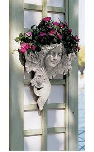 西洋彫刻 ルエトワール(星の女神) 壁掛けプランター壁装飾 フレンチグリーンマン彫像/植木鉢 栽培 菜園 ガーデニング園芸 贈り物(輸入品