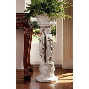 チャッツワースマナー(荘園)彫刻 新古典主義女性像柱の西洋彫刻 花台台座付き 壺(鉢)ディスプレイ飾り/ 記念品プレゼント贈り物(輸入品