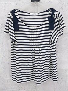 ◇ couture brooch クチュール ブローチ ボーダー リボン 半袖 Tシャツ カットソー 40 ネイビー オフホワイト * ◆ 1000027640554
