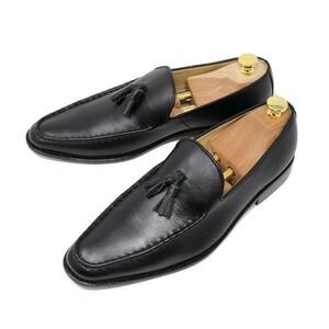 ハンドメイド 26cm 本革 スムース タッセル ローファー スリッポン マッケイ製法 ビジネス カジュアル シューズ ブラック 黒 靴 200