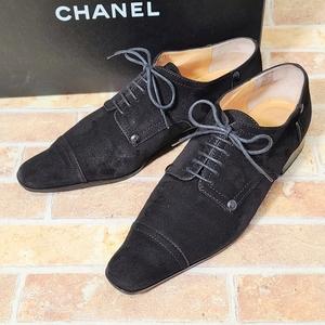 シャネル CHANEL スエードレザー レースアップ シューズ 36C ブラック イタリア製 革靴