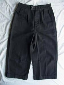 M H L. マーガレットハウエル サイドアジャスター付き ワイドシルエット クロップド丈パンツ サイズ 1 日本製 ブラック