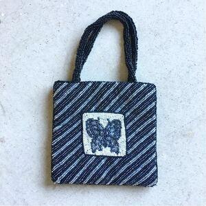 ビンテージ インド製 ビーズ刺繍 蝶々 ミニバッグ 0 ヴィンテージ ハンドメイド 結婚式 着物 浴衣 バタフライ パーティーバッグ 白黒