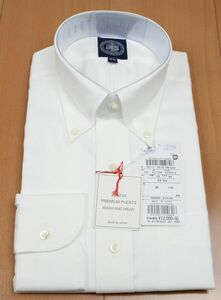 ●定番J.PRESS長袖ボタンダウンシャツ(39-84,白,YM0031,プレミアムプリーツ(形態安定),日本製)新品