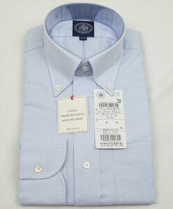 ●定番J.PRESS長袖ボタンダウンシャツ(37-82,白サックスマイクロチェック,YM0051,プレミアムプリーツ(形態安定),日本製)新品