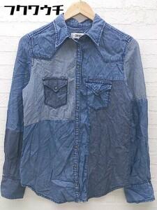 ◇ DIESEL ディーゼル パッチワーク 長袖 シャツ サイズS ブルー系 レディース