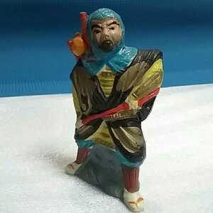 【当時物】★陶器人形③《弁慶?似の男》★郷土玩具.置物.土人形.日本人形.時代物 ◎サイズ約8㎝