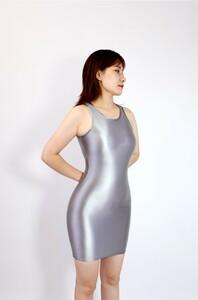 【2020秋最新作】コスプレ衣装 ワンピースドレス 伸縮性あり レースクイーンレオタード グレー Sサイズ