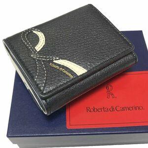 新品 Roberta di Camerino シボ ラメ レザー 三つ折り 財布 ブラック 黒 ロベルタ ディ カメリーノ 牛革 ウォレット