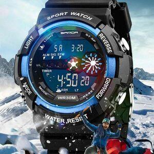 メンズ ステンレス LED デジタル 日付 アラーム 防水 スポーツ アーミー クォーツ 時計 電子 時計 ファッション 腕時計 アウトドア H529