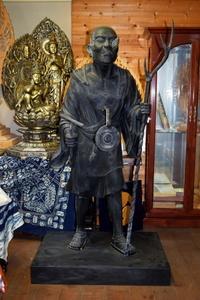 木彫 空也上人像 古色仕上げ 桧木 店頭展示品 手彫り木彫 仏教美術 【s1-2t-54】