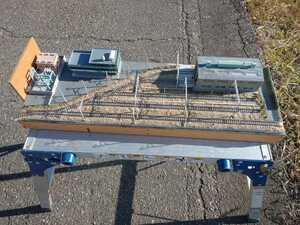 即決!Nゲージ用ジオラマ車両基地と乗務員建屋の風景電車車両は付きません
