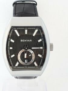 国内発送 送料無料 オマージュウォッチ BENYAR3ATM 防水 デイト メンズ レザーバンド 腕時計 長方形 クォーツ used