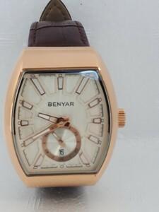 国内発送 送料無料 オマージュウォッチ BENYAR3ATM 防水 デイト メンズ クォーツ 腕時計 長方形 レザーバンド used